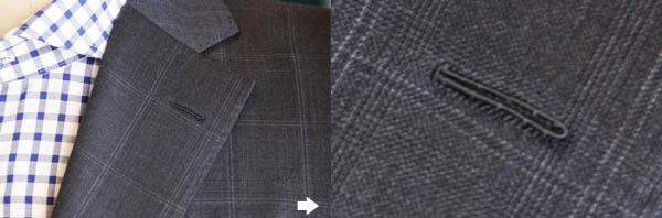 職人の手縫いによる釦ホール