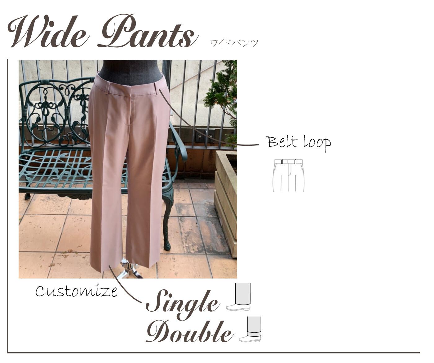 nu breeze ladies wide pants detail - NU茶屋町店 & 梅田BREEZE店 限定ライン レディーススーツ
